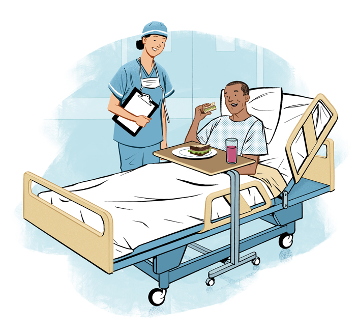 Illustration of surgery patient by Jori Bolton for Apple Magazine